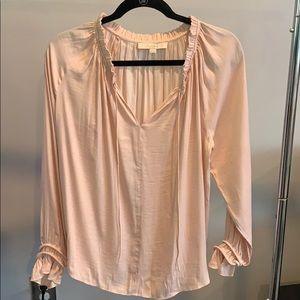 LOFT blush pink peasant blouse